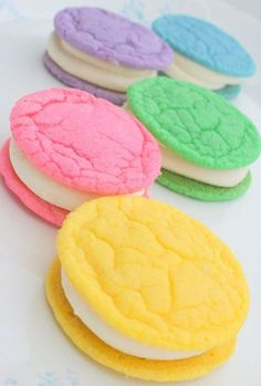 "Pastel cookiewiches filled with buttercream �€"" a bright and tasty way to welcome spring."