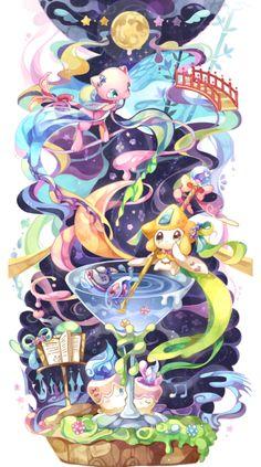 Mew, Jirachi, Finneon and Litwick Pokemon Images, Pokemon Pictures, All Pokemon, Pokemon Fan Art, Pokemon Mignon, Mew And Mewtwo, Pokemon Backgrounds, Mythical Pokemon, Pokemon Coloring