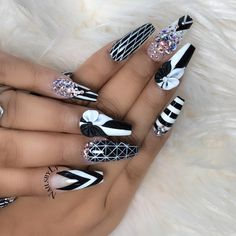 60 Unique and Stylish Nail Designs Black Acrylic Nails, Black Nails, White Nails, 3d Nails, Stiletto Nails, Swag Nails, Nail Art Designs, Acrylic Nail Designs, Nails Design