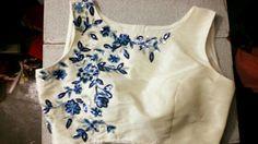 Floral bunch Saree Blouse Designs, Blouse Styles, Work Blouse, Applique, Blouses, Embroidery, Tank Tops, Shoulder, Floral