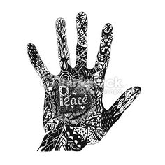 Illustration : Hand draw abstract background.For prints.Black and white.Liner drawn.Pattern hand.