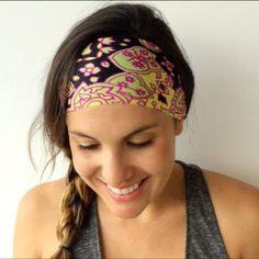 Yoga Headband - Running Headband - Workout Headband - Fitness Headband - Wonderland Print - Boho Wide Headband