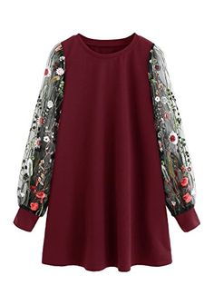 DIDK Round Neck Floral Embroidered Mesh Sleeve Pullover Tunic Dress Wine L - Tunic Dreses - Shop for Tunic Dreses for sales. - The post DIDK Round Neck Floral Embroidered Mesh Sleeve Pullover Tunic Dress Wine L appeared first on Dress Honey. Plus Size Maxi Dresses, Casual Dresses, Short Sleeve Dresses, Long Sleeve, Very Short Dress, Cap Dress, Cosplay Dress, Bishop Sleeve, Plus Size Fashion