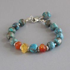 Rustic Turquoise Carnelian Citrine Gemstone Sterling Silver Bead Bracelet