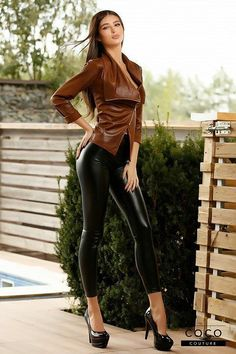 Leder Outfits, Legging Outfits, Hot Outfits, Leather Dresses, Leather Pants, Looks Pinterest, Botas Sexy, Elegantes Outfit, Shiny Leggings