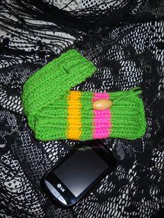 Handknit cell phone cozy; gadget cozy; storage case; bright spring green vegan yarn.