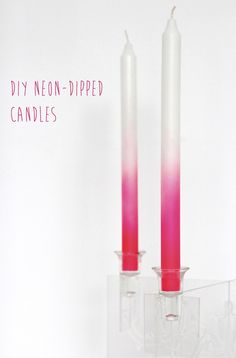 DIY neon candles - not the color but the technique. Use this for the large square candles but in peacock colors?