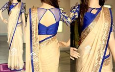 Saree and the awesome blouse Netted Blouse Designs, Fancy Blouse Designs, Blouse Neck Designs, Blouse Patterns, Saree Jacket Designs Latest, Henna Patterns, Dress Designs, Blouse Styles, Saree Jackets