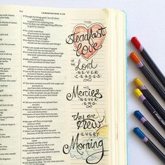 Lamentations 3:22-23  GOOD MORNING  I'm so glad for the opportunity to start afresh every morning and the forgiven fresh start Jesus offers when we turn to Him. #30daysofbiblelettering #lamentations #illustratedfaith #biblejournaling #biblejournalingcommunity #shewritestruth by ybintheword