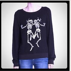 WildFox Dancing Skeleton Sweatshirt My All time favorite!! This super cool and comfy BBJ is a must have! Sold out everywhere. Available in S and M. Please comment the size you need. Wildfox Tops Sweatshirts & Hoodies