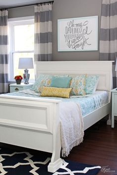"""Fresh Master Bedroom makeover - So many wonderful features and little touches to this room...LOVe the color scheme, so pretty and just the right amount of """"modern""""."""