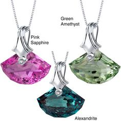 Sterling Silver Shell-cut Gemstone Pendant Necklace