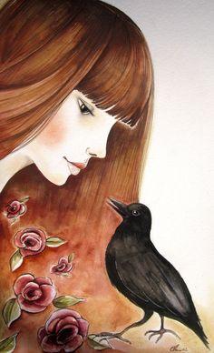 Claudia Tremblay Art   The bird's message ~ Claudia Tremblay   Acuarela
