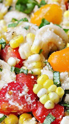 Tortellini Pasta Salad with Tomatoes, Basil, & Fresh Corn.