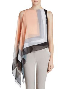 Rendered in airy chiffon, this top from Halston Heritage flaunts muted color-blocking and a draped, asymmetric shape that paints an effortlessly elegant picture. | Self & lining: polyester | Dry clean