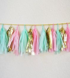 Pink & Mint Tassel Garland   Add a little spunk to your next soiree, or provide a fetching ...   Wreaths & Garlands