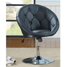 Black Button tufted Accent Swivel Chair with adjustable height