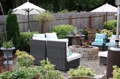 The Inspired Room - Backyard Tour with Pea Gravel.  Check out all the pictures of the space.