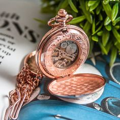 Rose Gold Mechanical Personalised Pocket Watch by the perfect gift for Explore more unique gifts in our curated marketplace.