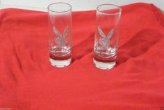 Playboy Bunny Pair Shot Glasses Crystal Rhinestone Glitter Glass Shooters Bar