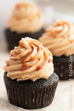 Dark Chocolate Cupcakes with Salted Caramel Buttercream and Salted Caramel Drizzle