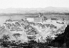 Sede da Fazenda de Santa Cruz, RJ, 1816. Desenho de autoria de Jean Baptiste Debret. Atualmente abriga a sede do 1º Batalhão de Engenharia de Combate, no Bairro de Santa Cruz, Rio de Janeiro/RJ.