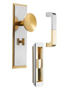 H. Theophile's Mid-Century Modern Mixed line of brass hardware combines different metallic finishes to stunning effect. From left are the Concave knob with the Stepped Edge faceplate, the Deco recessed pull, and the Mixed Finish Wire pull. Custom finishes are available; to the trade. htheophile.com, 212-727-0074