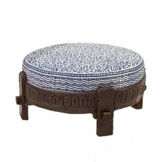 Vintage carved grinder table with a stunning indigo blue block print cushion, making an adorable traditional ottoman. Can be used as an ottoman or as a table.