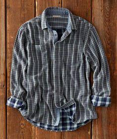 DressU Mens Warm Lounge Suede Thickening Plaid Button Down Shirt
