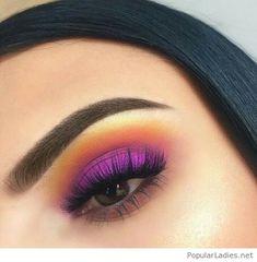 Orange and pink eye makeup