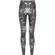 Alexander McQueen Lace Print Stretch Jersey Leggings ($635) ❤ liked on Polyvore