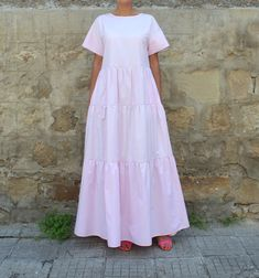 Hey, I found this really awesome Etsy listing at https://www.etsy.com/il-en/listing/385491894/light-pink-short-sleeve-maxi-dress-light