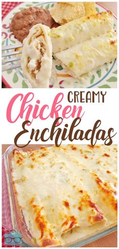 These Creamy Chicken Enchiladas are a hit with everyone! They have a light-tasting sour cream sauce that has a hint of heat from the green chiles. You can taste all the flavors in these creamy chicken enchiladas; the chicken, the tortillas and the creamy White Sauce Enchiladas, Chicken Cheese Enchiladas, Chicken Enchilada Casserole, Enchilada Recipes, Recipe For Enchiladas, Chicken Enchilada Sauce Recipe, Rotisserie Chicken Enchiladas, Hamburger Casserole, Casserole Recipes