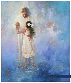 Jesus dancing with little girl. Prophetic art.