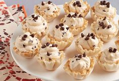 Quick Peanut Butter-Chocolate Mousse Cups with filo pastry base.