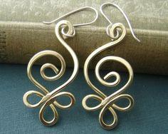 Celtic Budding Spiral Brass Wire Earrings - Celtic Jewelry - Women, Handmade Gift, Dangle Earring, Jewellery