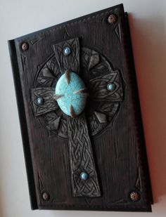 Notebook journal diary with polymer clay cover by ClaymanShop