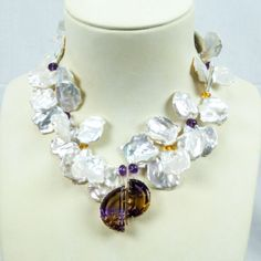 Keshi Pearl Necklace and Ametrine Demi Lune Gold Pendant image 2
