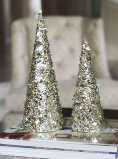 how to make 2 step glitter foil trees, christmas decorations, crafts, seasonal holiday decor