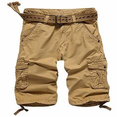 GOWINGLD 100% Cotton Men's Retro Knight Style Multi Pockets Cargo Short Pants - Brought to you by Avarsha.com