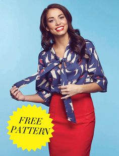 This beautiful beginner-friendly pussy bow blouse will make a gorgeous addition to your wardrobe. Choose a stable cotton lawn if. Dress Making Patterns, Skirt Patterns Sewing, Sewing Patterns Free, Free Sewing, Clothing Patterns, Garra, Gillian Anderson, Blouse Pattern Free, Blouse Sewing Pattern
