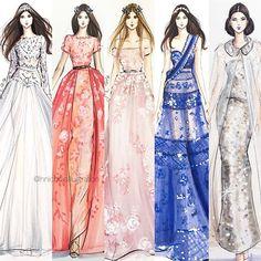 Couture roundup #fashionsketch #fashionillustration #fashionillustrator #boston…