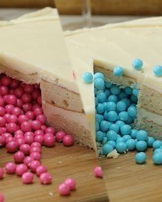 This surprise-filled cake is the perfect centerpiece for your baby's gender reveal party!