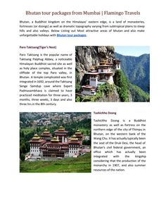 Bhutan tour packages from Mumbai | Flamingo Travels