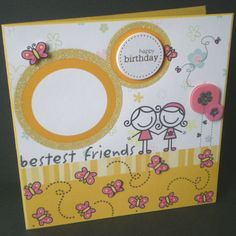 best friends birthday card butterflies female modern by jujucards, £1.75