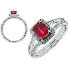 18K White Gold Emerald Ruby