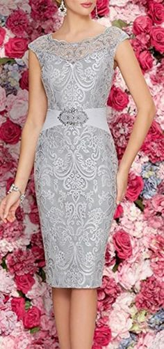 Mother Of The Bride Dresses Tea Length Two Pieces With Jacket Gray sexy dress - Cute Mother of the groom dress for the perfect wedding ceremony, be dress like a queen!