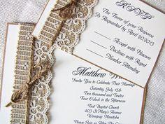 Burlap and lace Invites