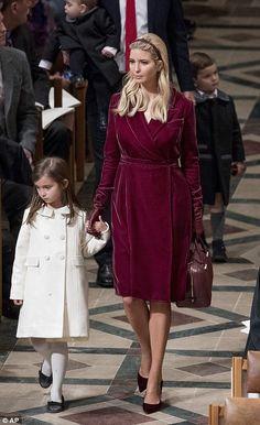 Ivanka walks alongside daughter Arabella, as she arrives at the interfaith prayer service...
