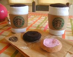 Here's the only kind of coffee you should be serving a two year old. Let them play with the Starbucks Felt Playset and they'll feel all grown up. It's an easy sewing project you can put together using fabric from your stash.